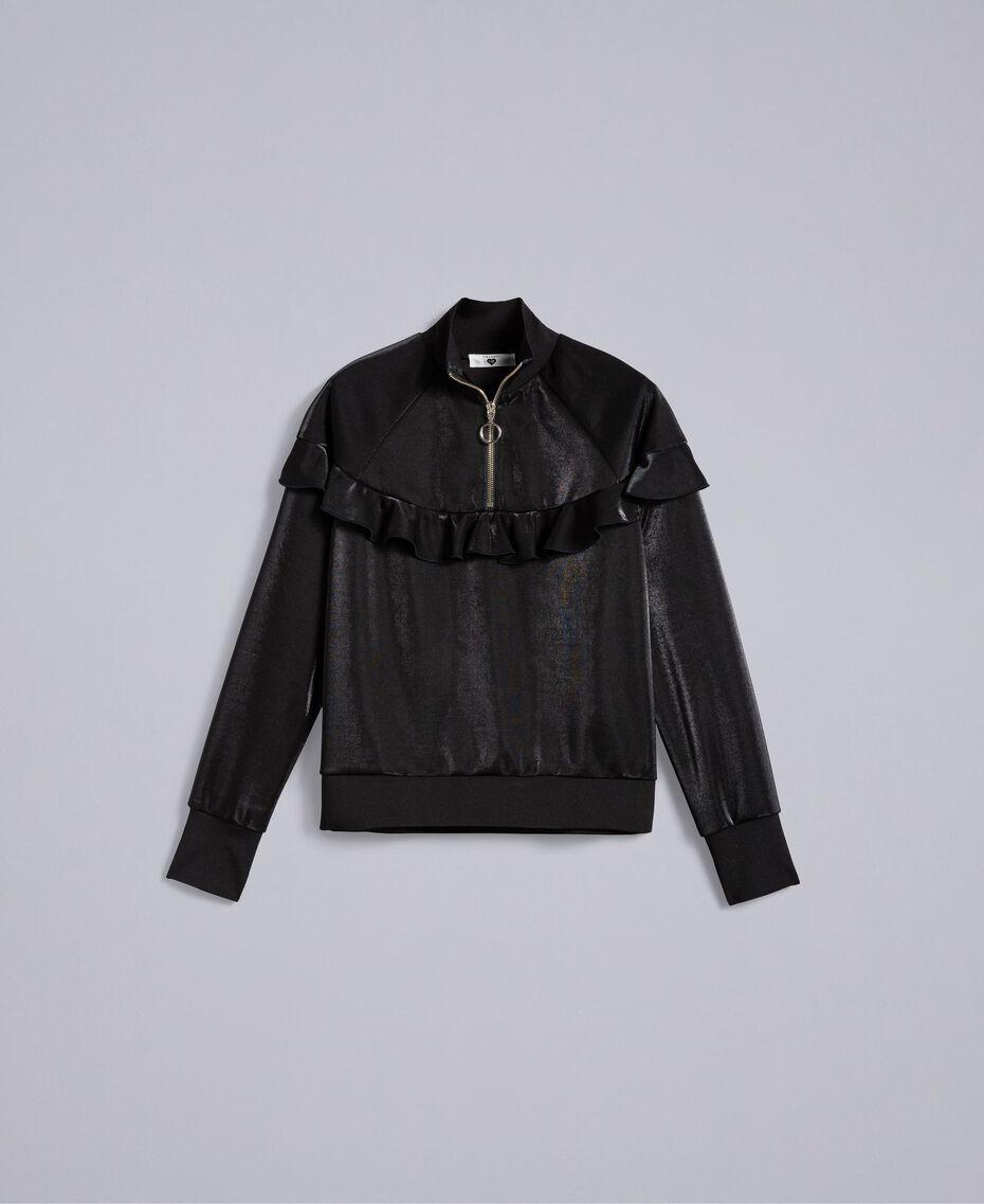 Sweatshirt aus technischem Stoff mit Rüschen Schwarz Frau IA85BB-0S