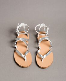 Laminated leather sandals with straps Silver Woman 191TCT09W-05