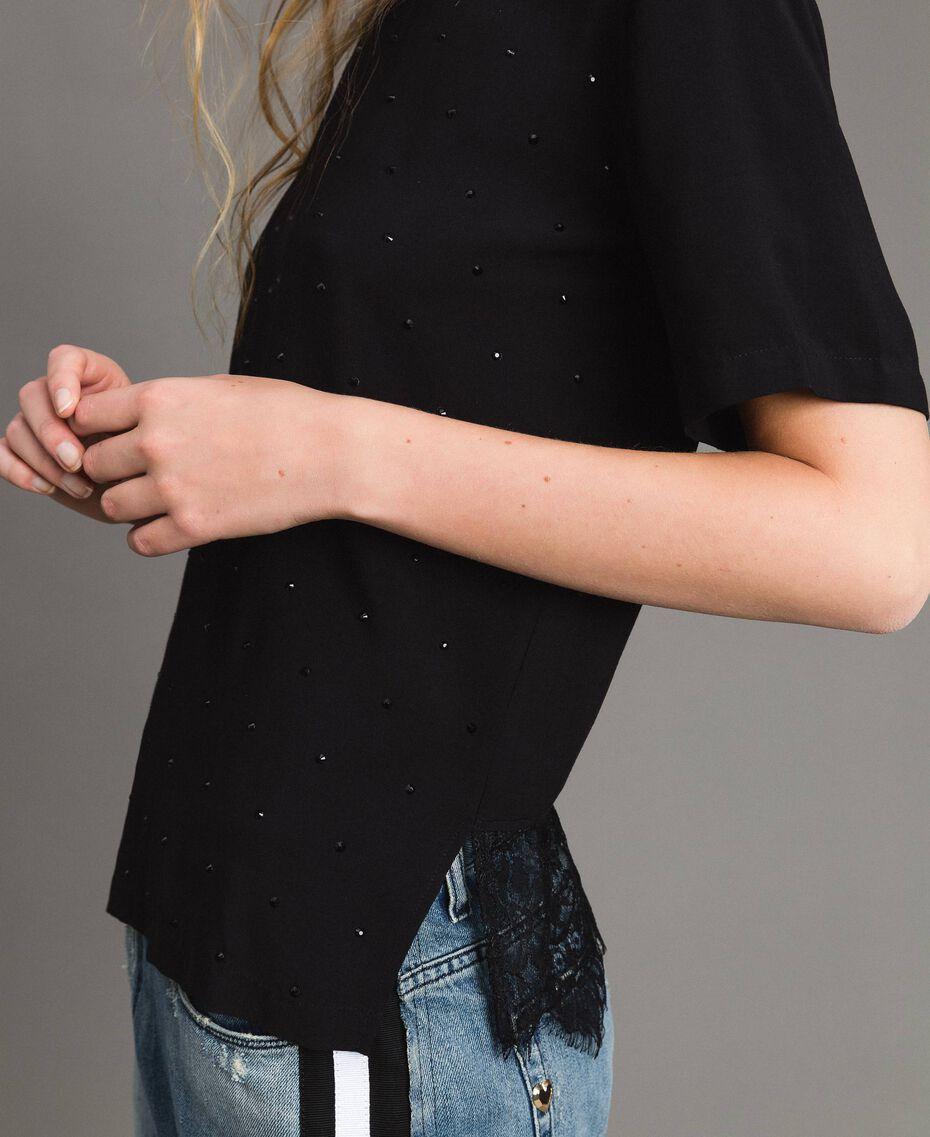 Blouse avec strass et dentelle Noir Femme 191MP2451-05