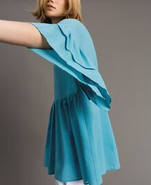 Wide sleeve blouse with flounce Daylight Blue Woman 191LM2HCC-05