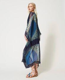 "Abito caftano con stampa foulard Stampa Foulard Cachemire ""Nautical Blue"" Donna 211TT268D-05"