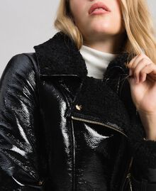 Patent leather effect faux shearling biker jacket Black Woman 192MT2030-05