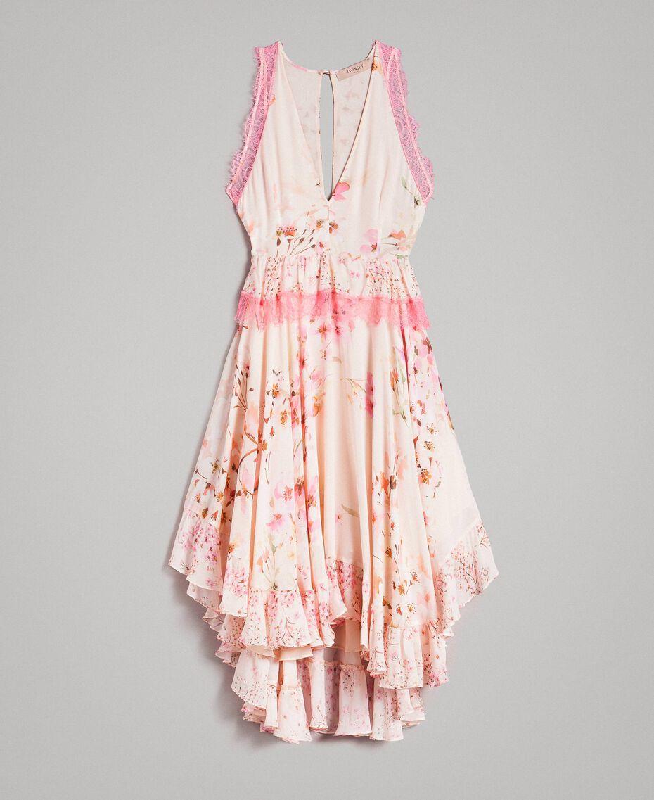 """Robe en georgette à motif floral avec dentelle Imprimé Rose """"Bouton De Rose / Peach Mix"""" Femme 191TP2712-0S"""