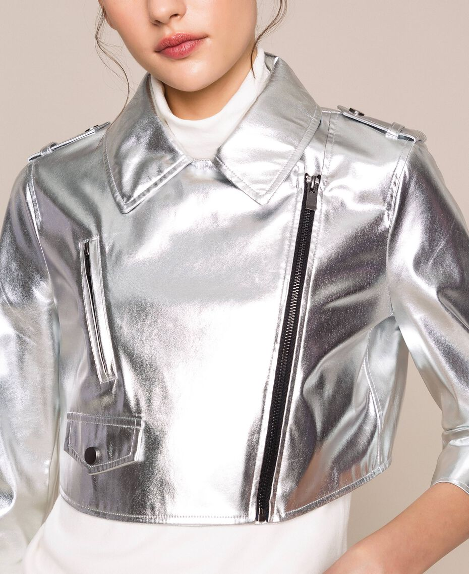 Cropped jacket in metal faux leather Silver Woman 201TP2410-05