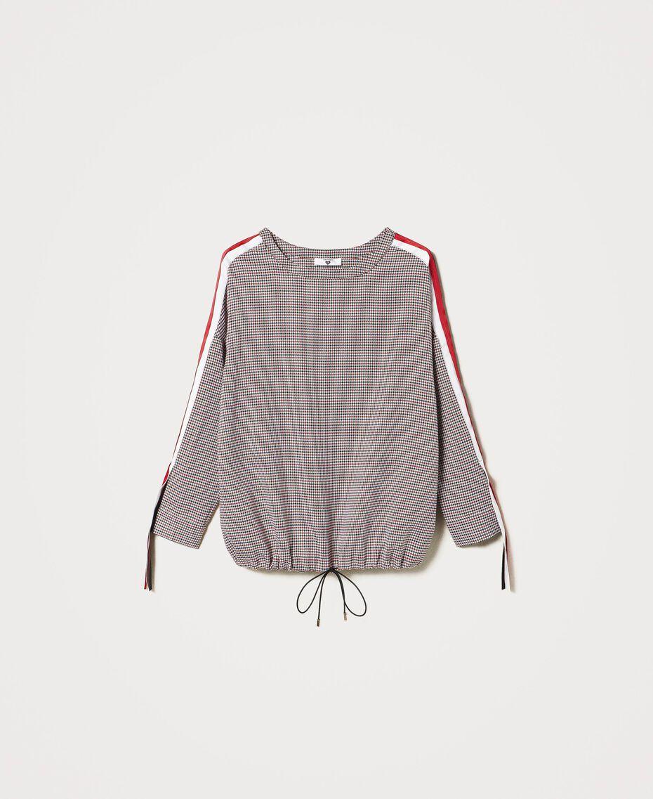 "Sweatshirt mit Hahnentrittmuster ""Pied de Poule""-Jacquard Schwarz Frau 202LI2MLL-0S"