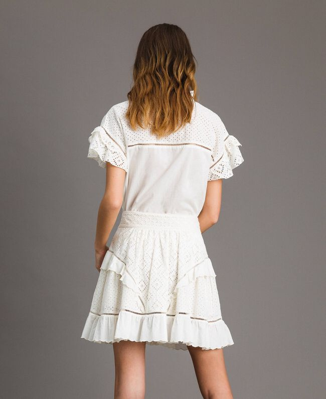 Minijupe évasée avec broderie anglaise Blanc Neige Femme 191TT2046-03