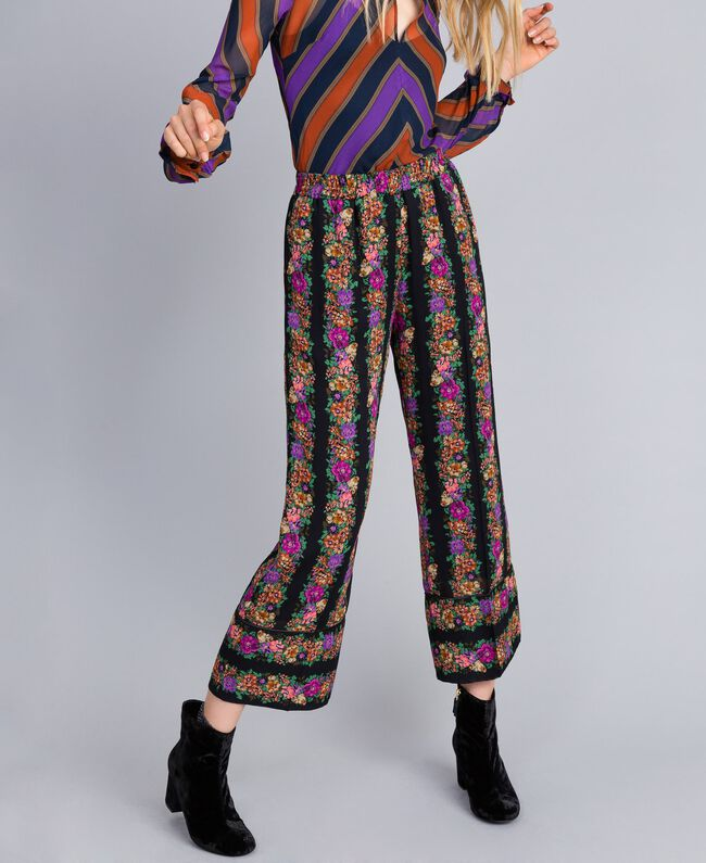 Floral print georgette cropped trousers Flower and Black Stripe Print Woman TA82X5-01