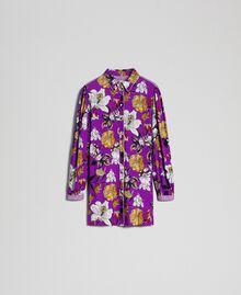 Chemise longue avec imprimé floral Imprimé Fleurs d'Automne Violet Femme 192ST2223-0S