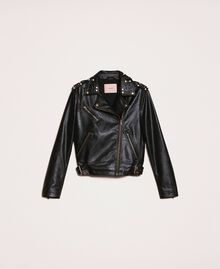 Байкерская куртка из искусственной кожи с заклепками и жемчугом Черный женщина 201TP241A-0S