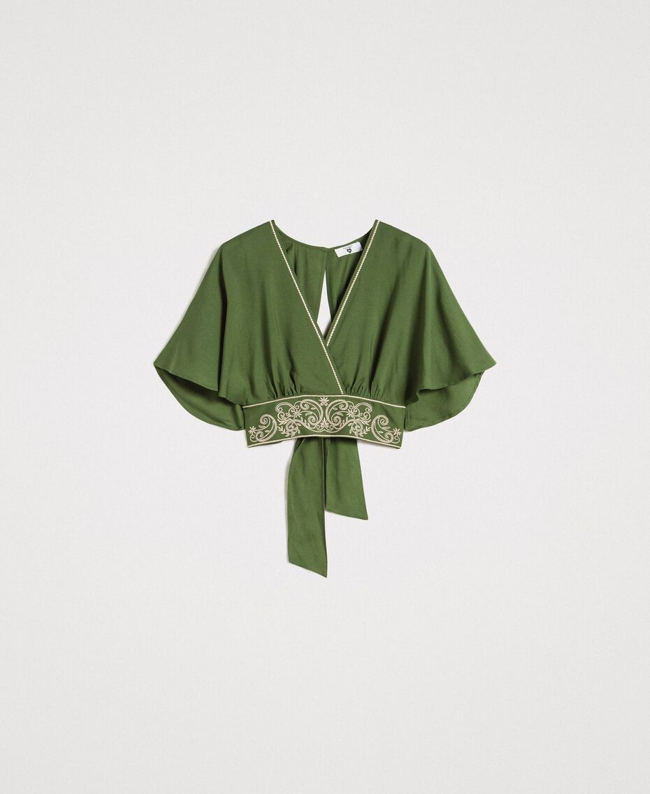 Top cropped in viscose Verde Amazzonia Donna 191LM2RFF-0S
