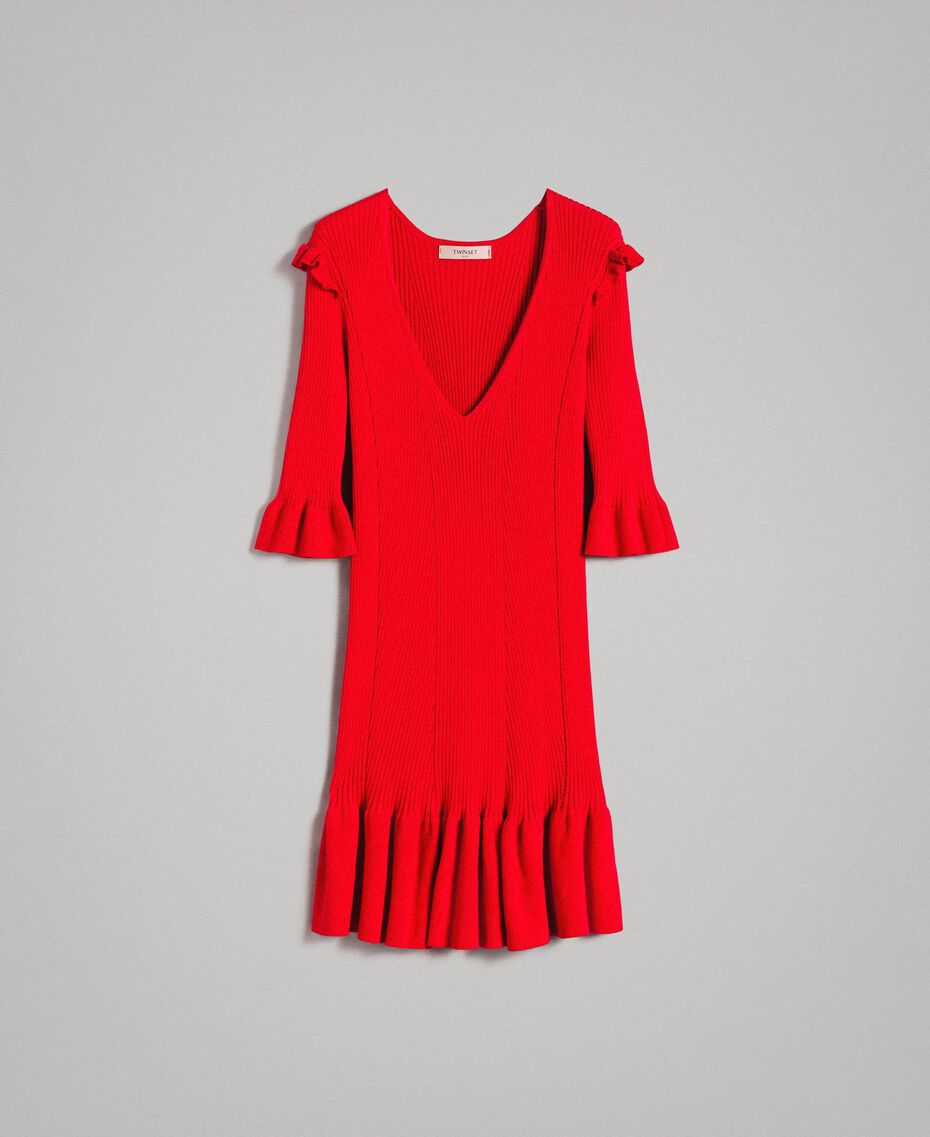 "Knit dress with ruffles ""Ruby"" Red Woman 191TP3271-0S"