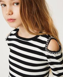 Striped jumper with cut-out and chains Off White / Black Stripes Child 211GJ350A-04