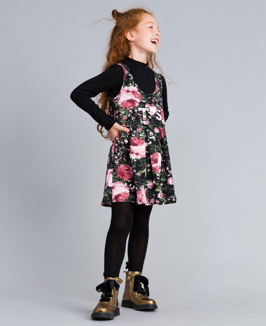 """Kleid aus bedrucktem Pikee mit T-Shirt Print """"Rosen"""" / Schwarz Kind GA82LC-0S"""