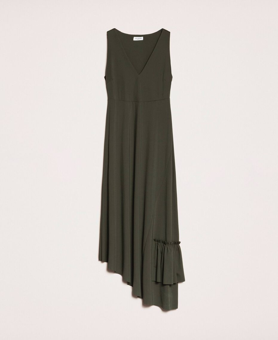 Long asymmetric dress with flounce Elm Green Woman 201ST2142-0S