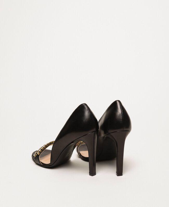 Stiletto heel sandals with bezels Black Woman 201TCP090-03