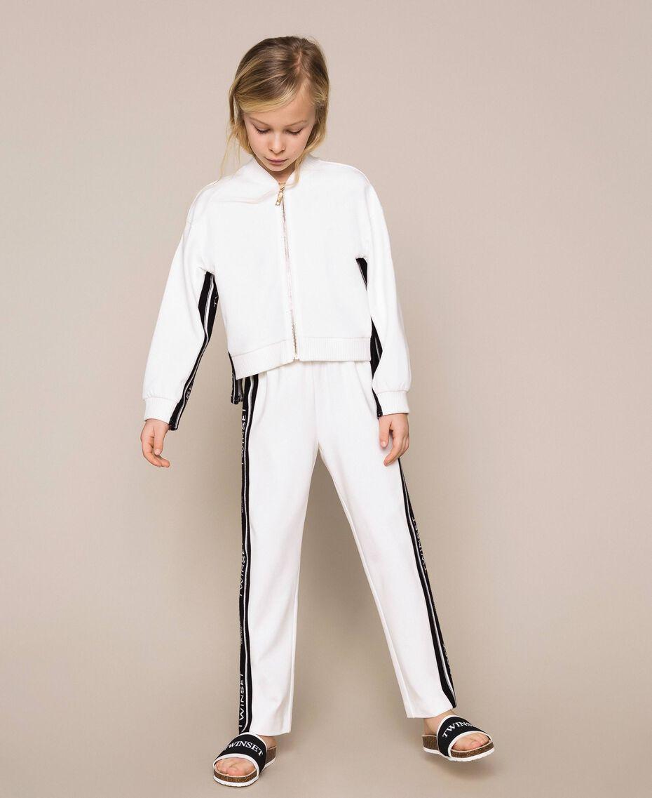 Plush jumpsuit with jacquard logo Bicolour Off White / Black Child 201GJ237B-02