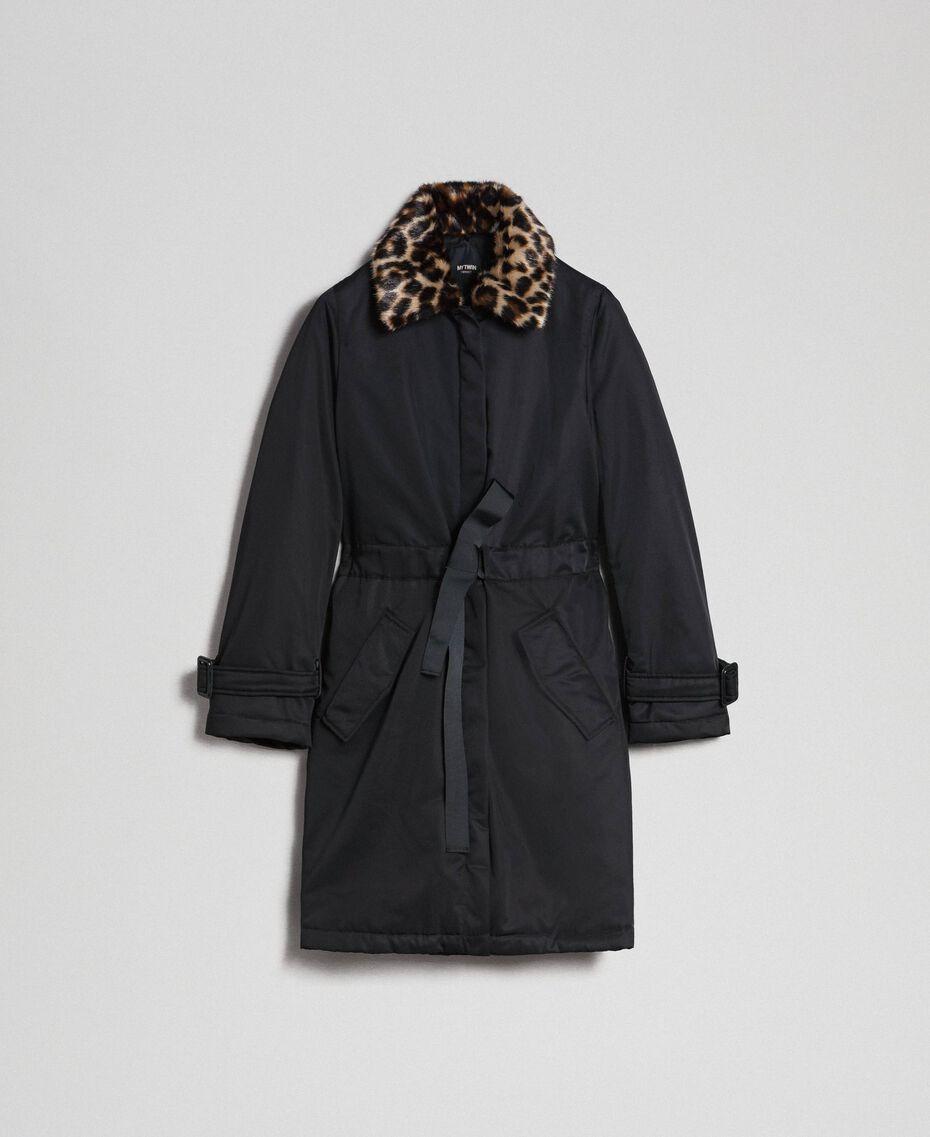 Mantel aus technischem Satin mit Animal-Kragen Schwarz Frau 192MP2121-0S