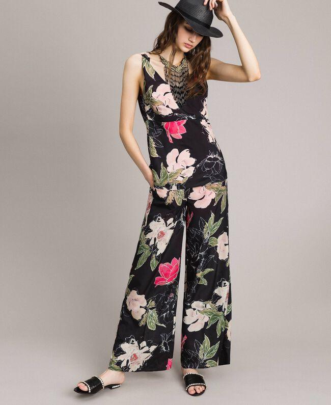 Floral print crêpe de Chine top All Over Black Flowers Print Woman 191MT2213-0T