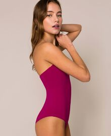 Logo one-shoulder one-piece swimsuit Hot Fuchsia Woman 201LBMHYY-04
