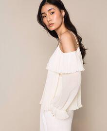 Blouse en crêpe georgette plissé Blanc Antique White Femme 201TT2090-02