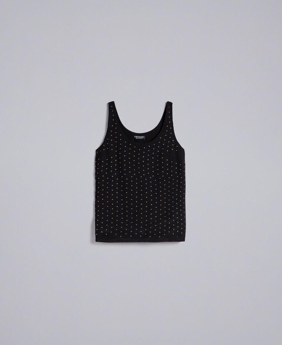 Top en soie avec clous Noir Femme PA82EY-0S