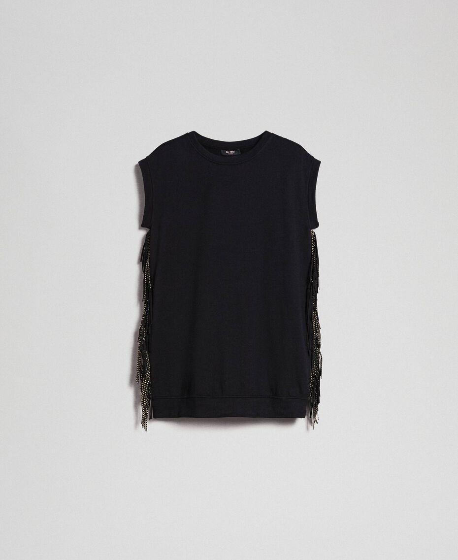 Maxisweatshirt mit Fransen und Mikronieten Schwarz Frau 192MP2231-0S