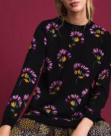 Abito in lana stampata con ricamo Stampa Mix Flower Black Donna 192TT3340-04