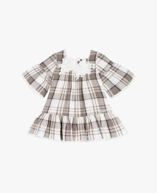 Kleid mit Karomuster Karo-Jacquard Chantilly / Rauchgrau Kind FS82JB-01