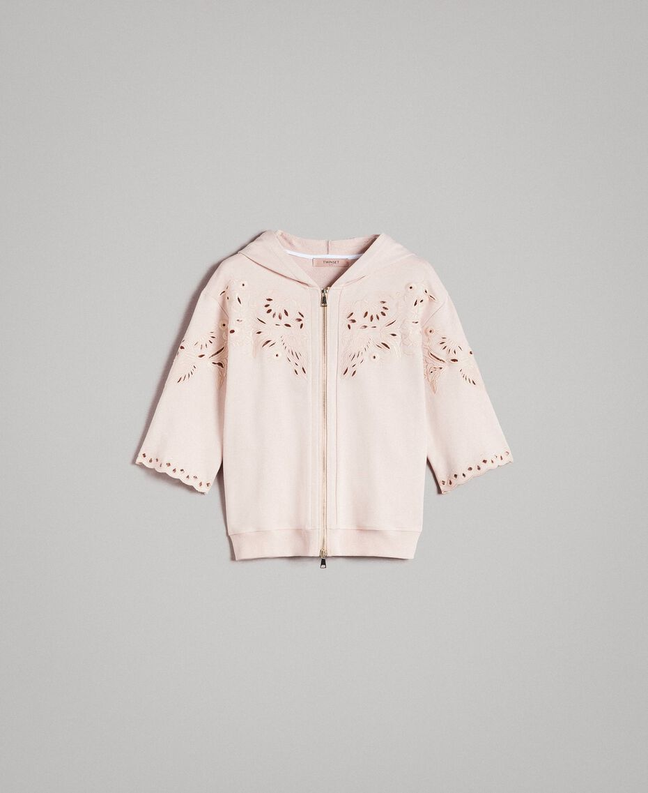 Sweatshirt with broderie anglaise embroidery Bud Pink Woman 191TP2593-0S