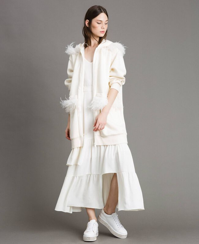 """Long scuba bomber with feathers """"Silk"""" White Woman 191TP2068-01"""