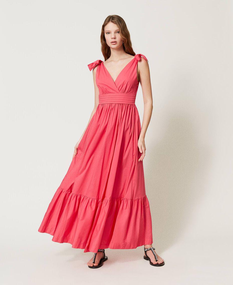 """Длинное платье из поплина Розовый """"Вишнево-розовый"""" женщина 211LM2EJJ-01"""