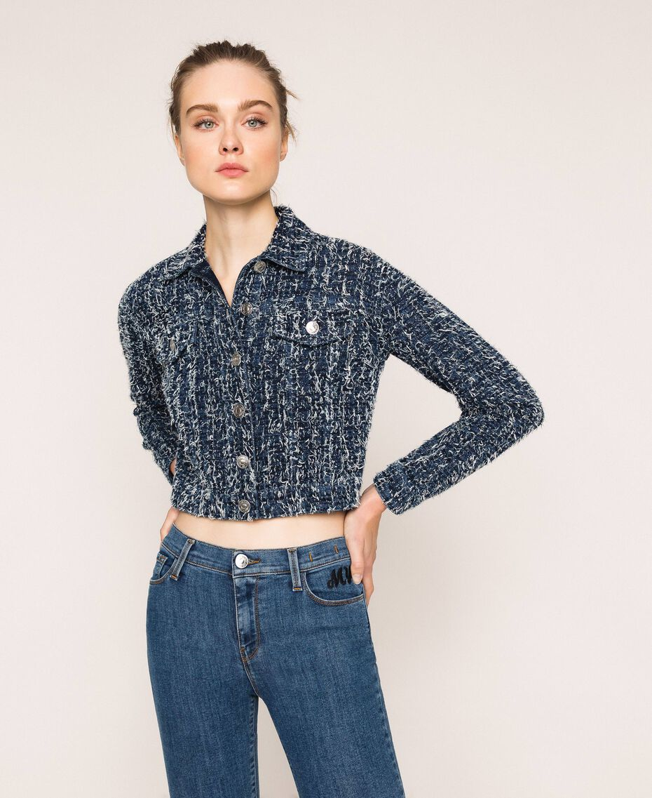 Giacca in jeans con bouclé Denim Blue Donna 201MP234A-01