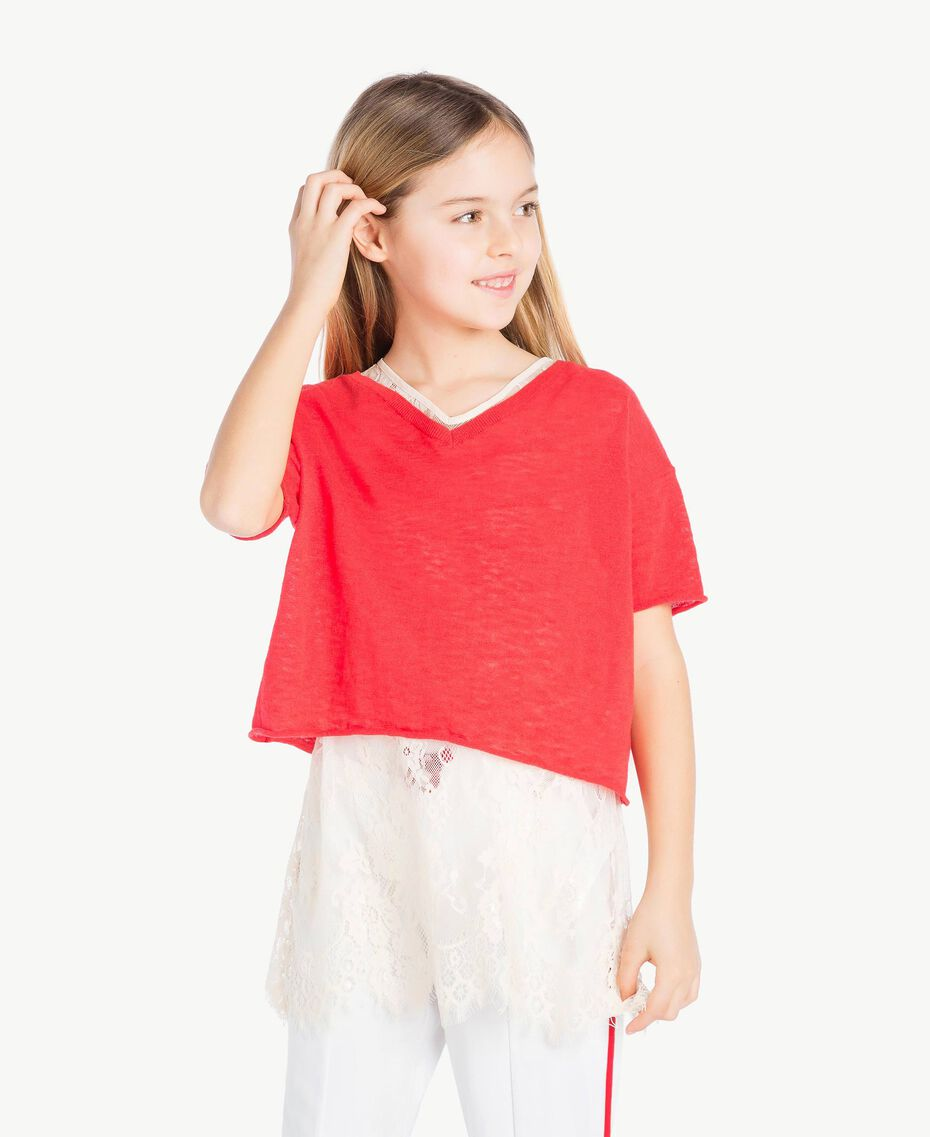 Jumper and lace top Two-tone Pomegranate Red / Chantilly Child GS83DN-02