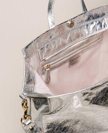 Sac cabas en cuir avec logo Blanc Neige Femme 201TA7090-05