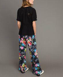 Pantalon palazzo avec imprimé floral Imprimé Fleur Multicolore Noir Total Femme 191MT2293-04