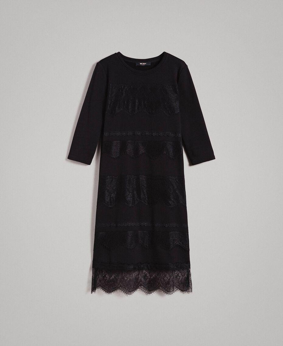 Robe en molleton avec dentelle Noir Femme 191MP2325-0S