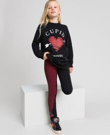 Maxi sweatshirt with heart and leggings Black / Tiny Heart Print Child 192GJ2550-0T