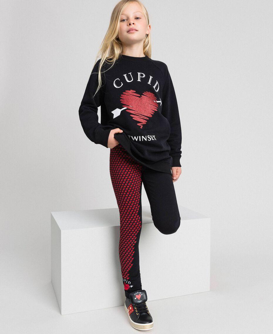 Maxisweatshirt und Leggings mit Herzen Schwarz / Herzchenprint Kind 192GJ2550-0T