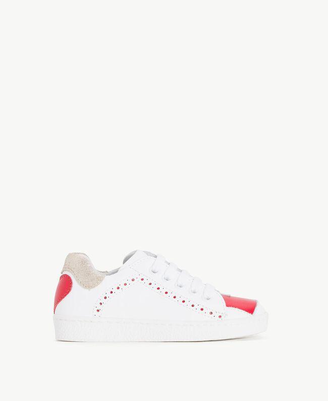 Sneakers mit Herzen Zweifarbig Papyrusweiß / Granatapfelrot Kind HS86BN-01