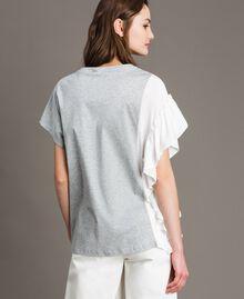 T-Shirt aus Seidenmischung mit Rüschen Grau Melange Frau 191TP2262-04