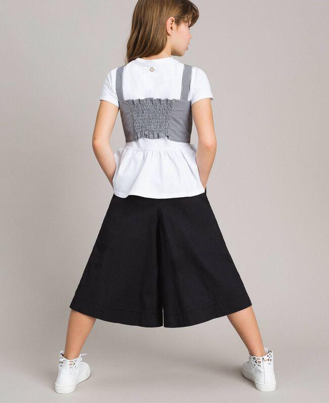 T-Shirt aus Jerseystoff mit Gingham-Top Zweifarbig Optisch Weiß / Gingham Kind 191GJ2730-03