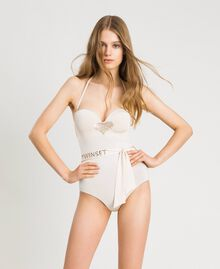 One-piece padded swimsuit with sequins Ivory Woman 191LMMCZZ-0S