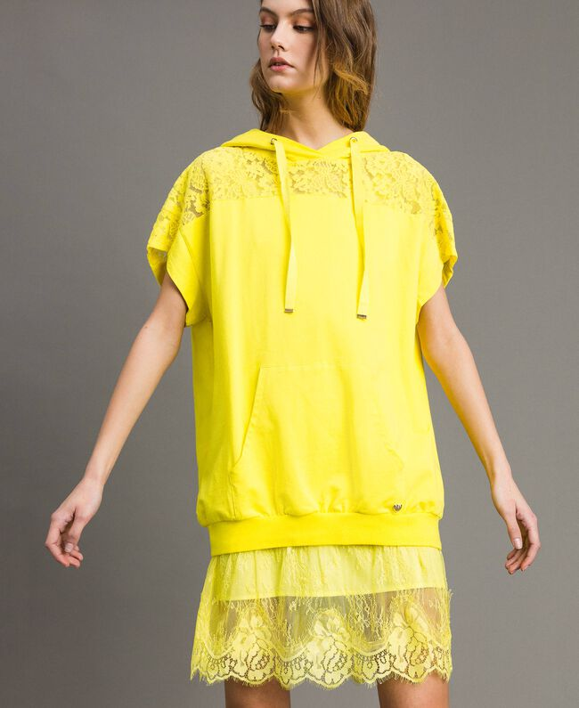 Maxi sweatshirt with hood and lace Fluorescent Yellow Woman 191MT2340-04