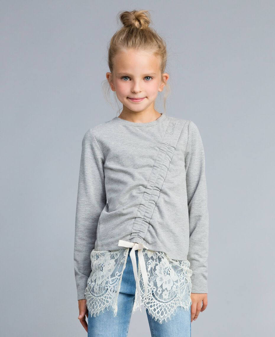 Draped stretch cotton sweatshirt Bicolour Light Grey Melange / Off White Child GA82GB-0S