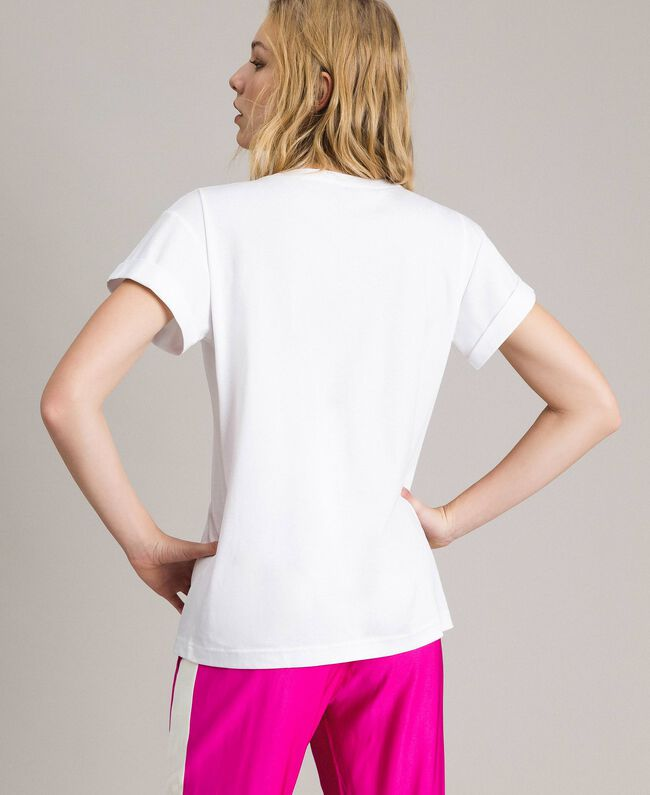 """Printed and embroidered T-shirt Two-tone Optical White / """"Macaron"""" Pink Woman 191TP2294-04"""