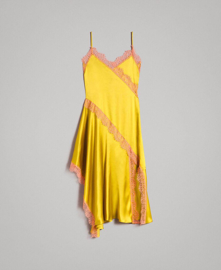 Robe longue en soie mélangée agrémentée de dentelle Bicolore Noir / Blanc Neige Femme 191TT2091-0S