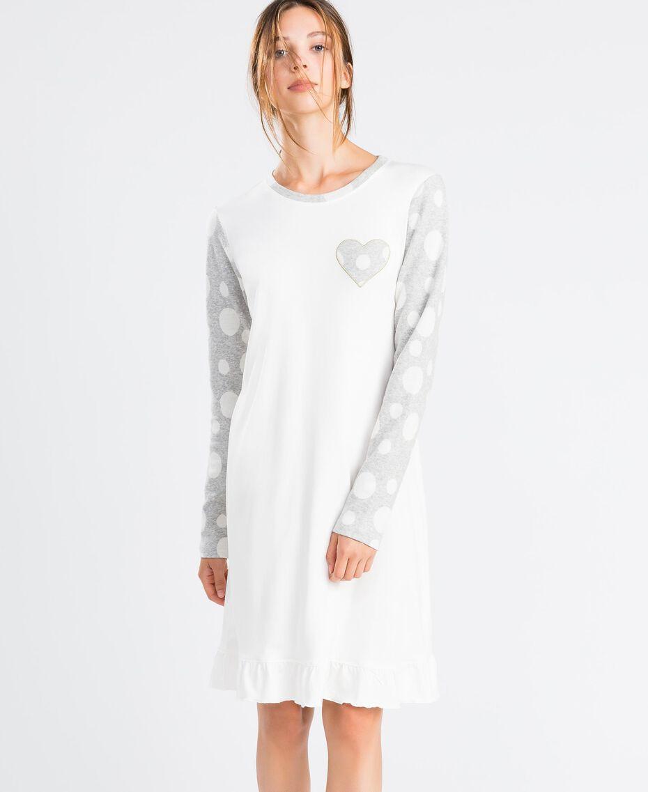 Nachthemd aus Baumwollmischung Zweifarbig Tupfen Grau / Elfenbein Frau LA8UBB-0S