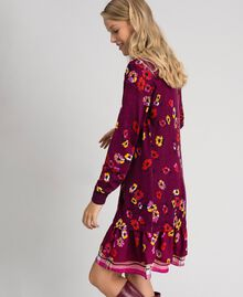 "Floral print dress with flounce ""Petit Fleur"" Burgundy Red Print Woman 192MT3271-02"