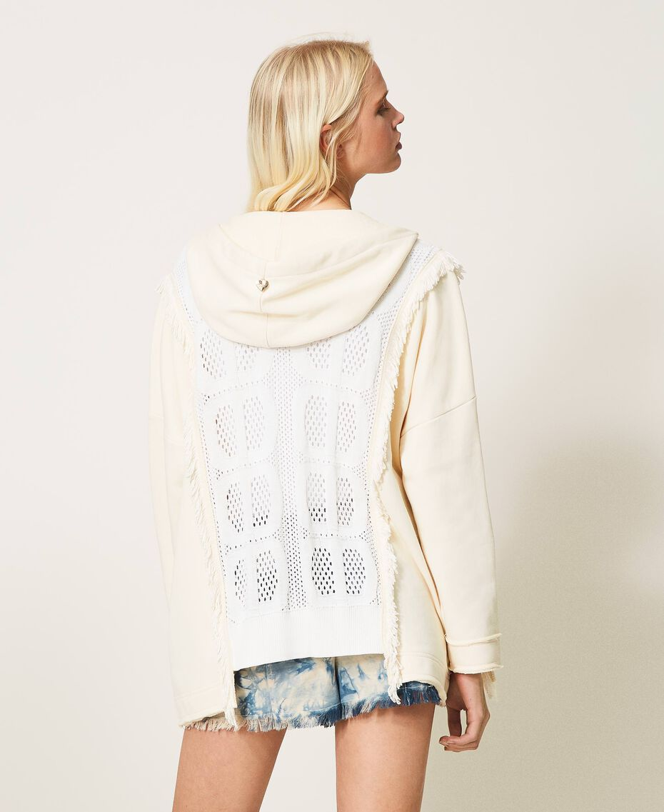 """Plush fabric cardigan with logo inserts Two-tone """"Snow"""" White / """"Off White"""" Woman 211TT3240-03"""
