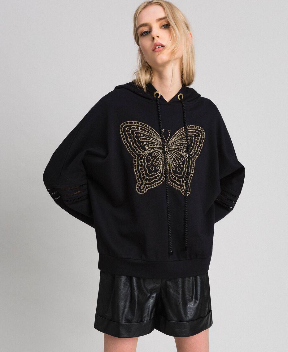 Felpa con ricamo a farfalla Nero Donna 192TT2133-01